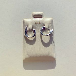 14k white gold small cartilage hoops